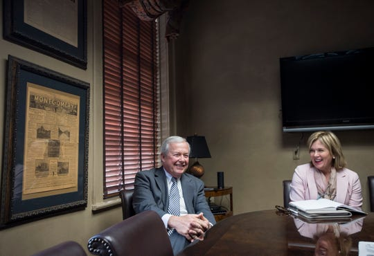Outgoing President of the Montgomery Area Chamber of Commerce Randy George, left, and his successor, Chief of Staff and Executive Vice President Anna Buckalew during an interview at the Chamber of Commerce in Montgomery, Ala., on Thursday, Feb. 7, 2019.