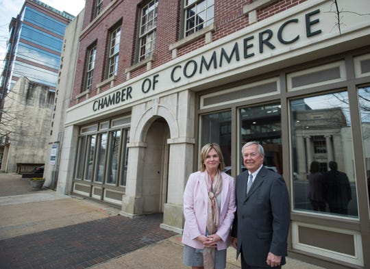 Outgoing President of the Montgomery Area Chamber of Commerce Randy George, right, and his successor, Chief of Staff and Executive Vice President Anna Buckalew pose for a portrait at the Chamber of Commerce in Montgomery, Ala., on Thursday, Feb. 7, 2019.