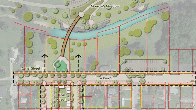 Updated illustration released by Yorktown shows the updates along Buck Creek and Canal Street.