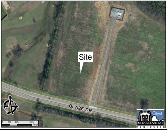 This aerial photo shows where a proposed Linebaugh Library branch could be built on city land along the northwest corner of Blaze Drive and Fortress Boulevard. The city also plans to open Fire Station 11 sometime in 2019. Other proposals call for a building for the Rutherford County Clerk and Trustee, and a driver license testing center with offices for state troopers.