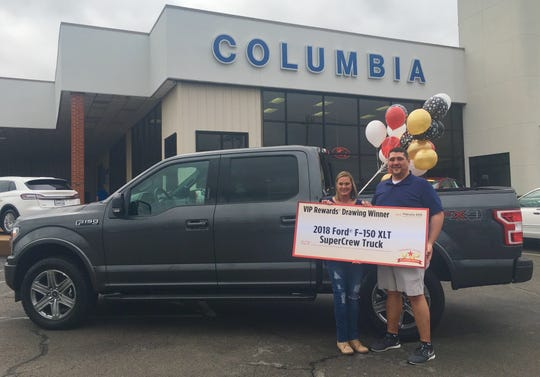 Jennifer Williams, pictured with husband Luke, recently won a 2018 Ford pickup truck from the Tennessee Education Lottery.
