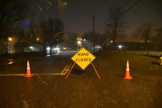 Flooding caused E. Rickert Ave in Dickson County to be closed during the Wednesday night storm.