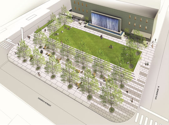 The Hermitage Hotel has proposed an alternative development idea for Church Street Park that includes tables for outdoor dining, a waterfall fountain, and a rectangular patch of grass surrounded by decorative paved walking areas.
