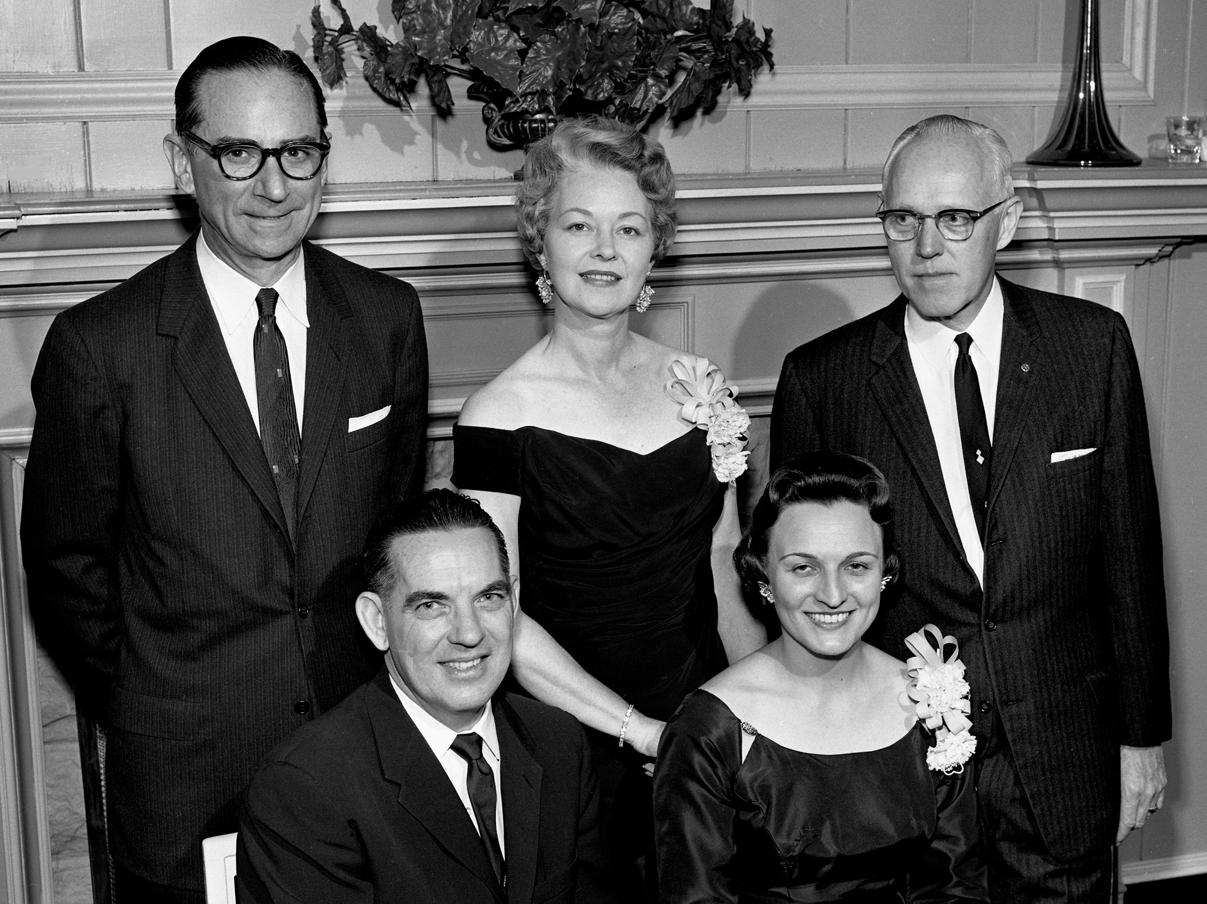 Members of the Rotary Club entertaining at a Valentine dinner and dance at Belle Meade Country Club on Feb. 14, 1961, are Mr. and Mrs. T.C. Summers, seated, Mr. and Mrs. Dan Maddox, standing left, and Jack Massey.