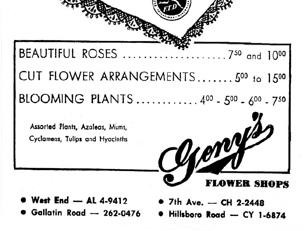 "Geny's Flower Show, with four locations in Nashville, placed an ad in the Feb. 14, 1964, issue of The Tennessean to let readers know that they can say ""be my Valentine"" with flowers."