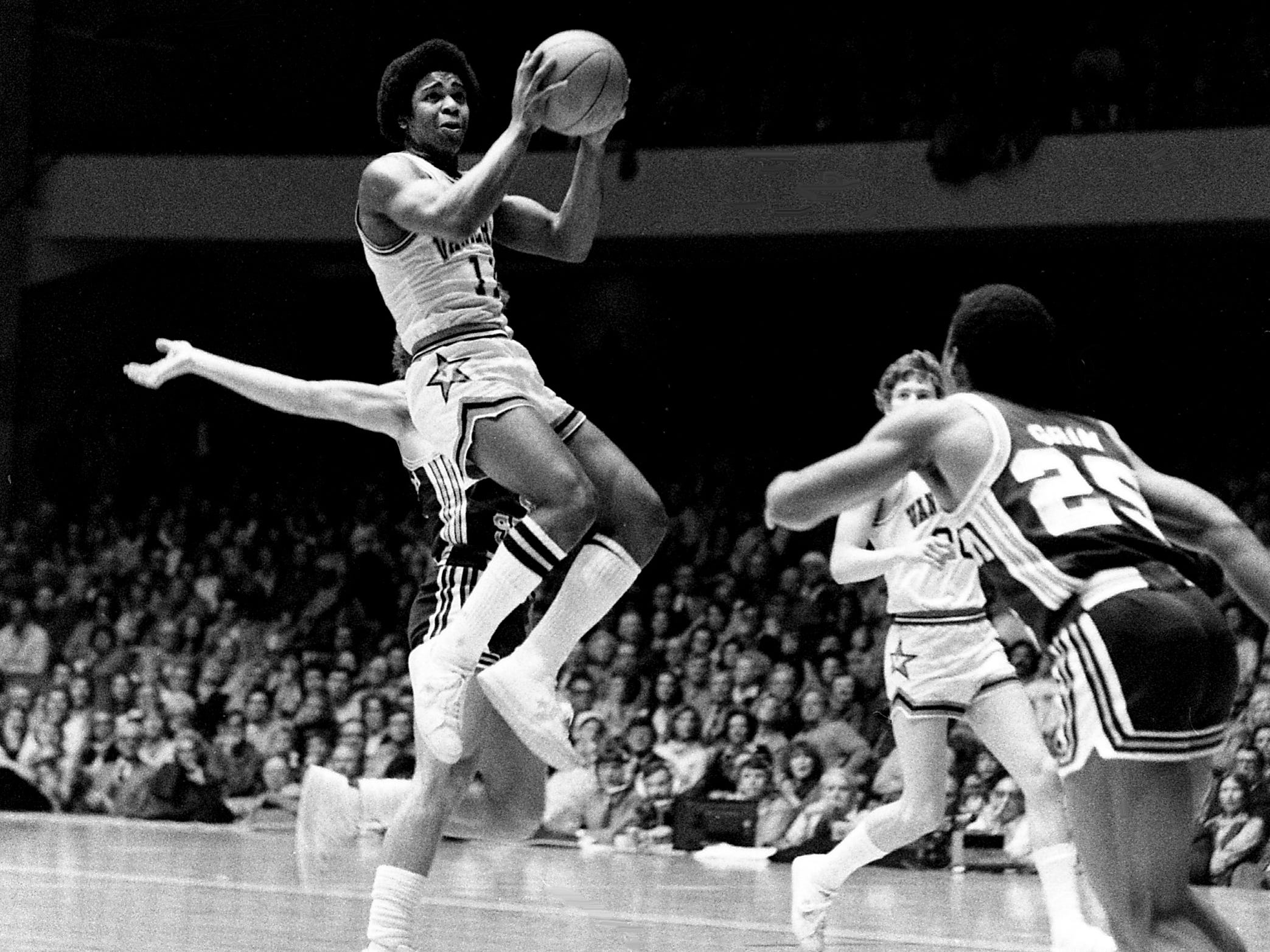 Vanderbilt guard Tommy Springer (11) pulls up for two of his 12 points in the Commodores' 70-68 victory over Mississippi State before a full house of 15,626 fans at Memorial Gym on Feb. 10, 1979.