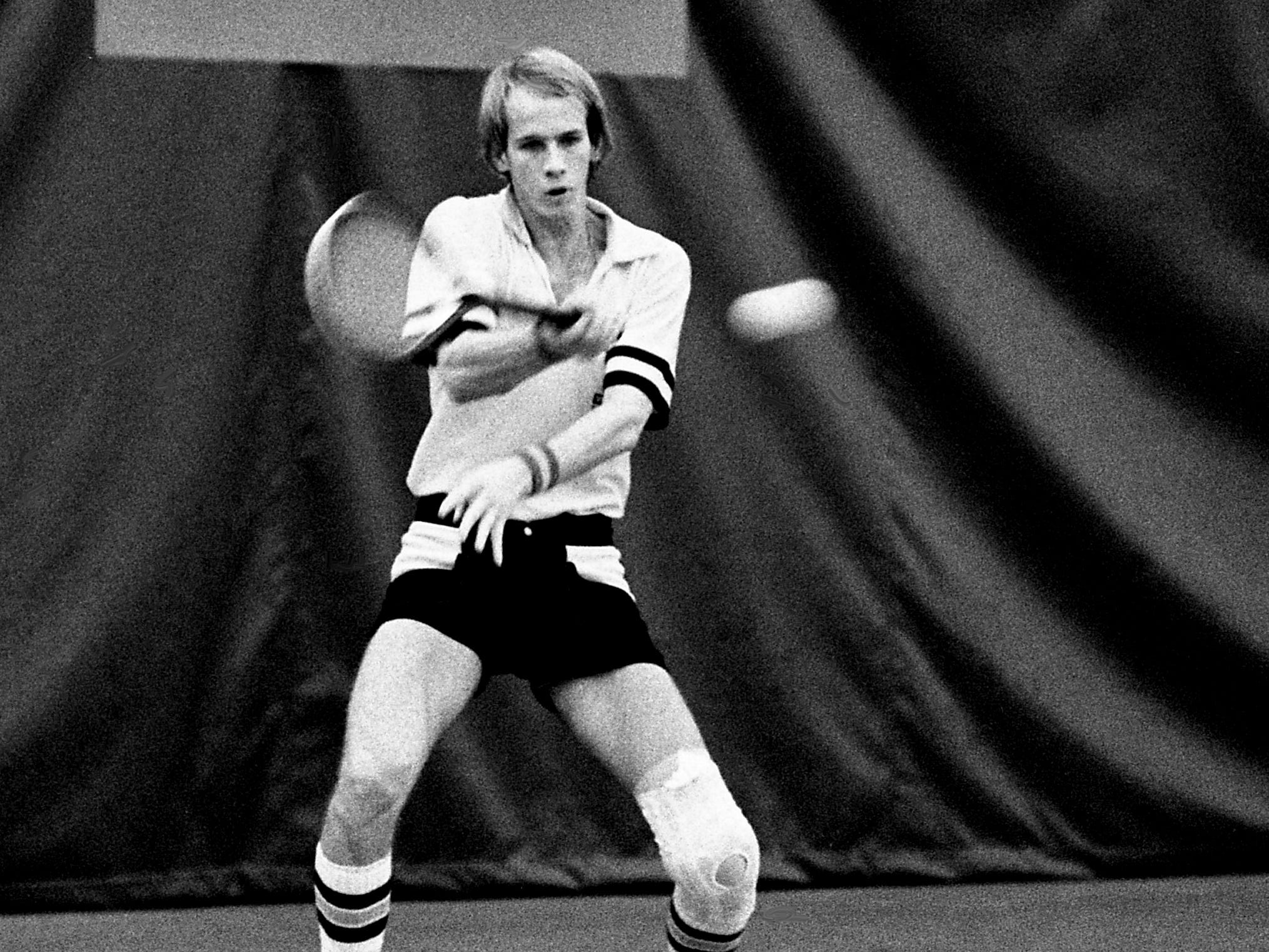Vanderbilt's Tim Stewart returns a shot from Tennessee's Jim Gillespie during his 6-4, 3-6, 6-3 victory in the SEC Indoor Championships at Vanderbilt on Feb. 24, 1979, to advance to the final.