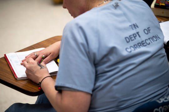 Lipscomb LIFE students who are incarcerated at the Tennessee Prison for Women takes notes during a Personhood, Ministry, and Discipleship class in Nashville, Tenn., Wednesday, Feb. 6, 2019.