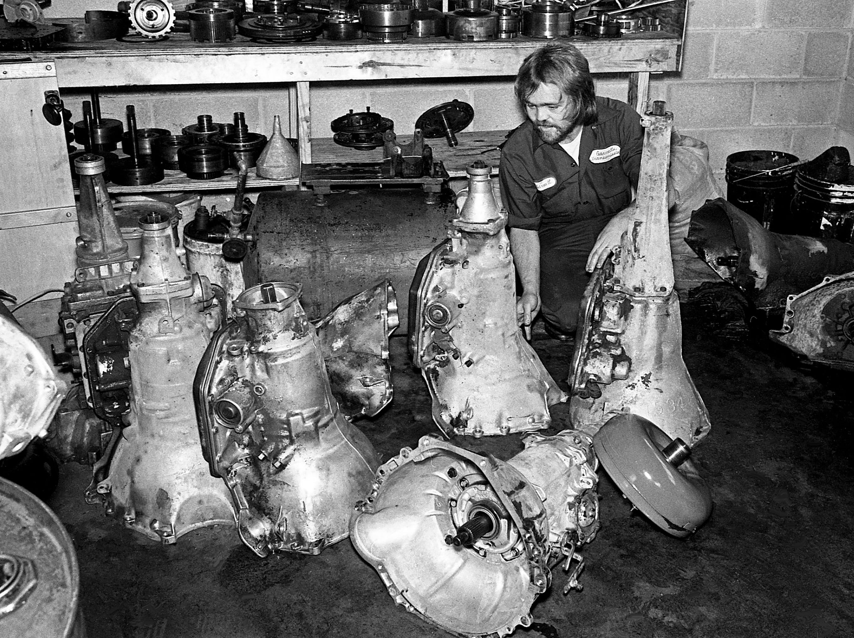 Garnett Neagle, who is blind after a motorcycle accident, works on a transmission at his shop in Portland on Feb. 2, 1979. After going to Nashville Auto Diesel College and working a year at Nashville Transmission, Neagle opened his own shop in 1977.