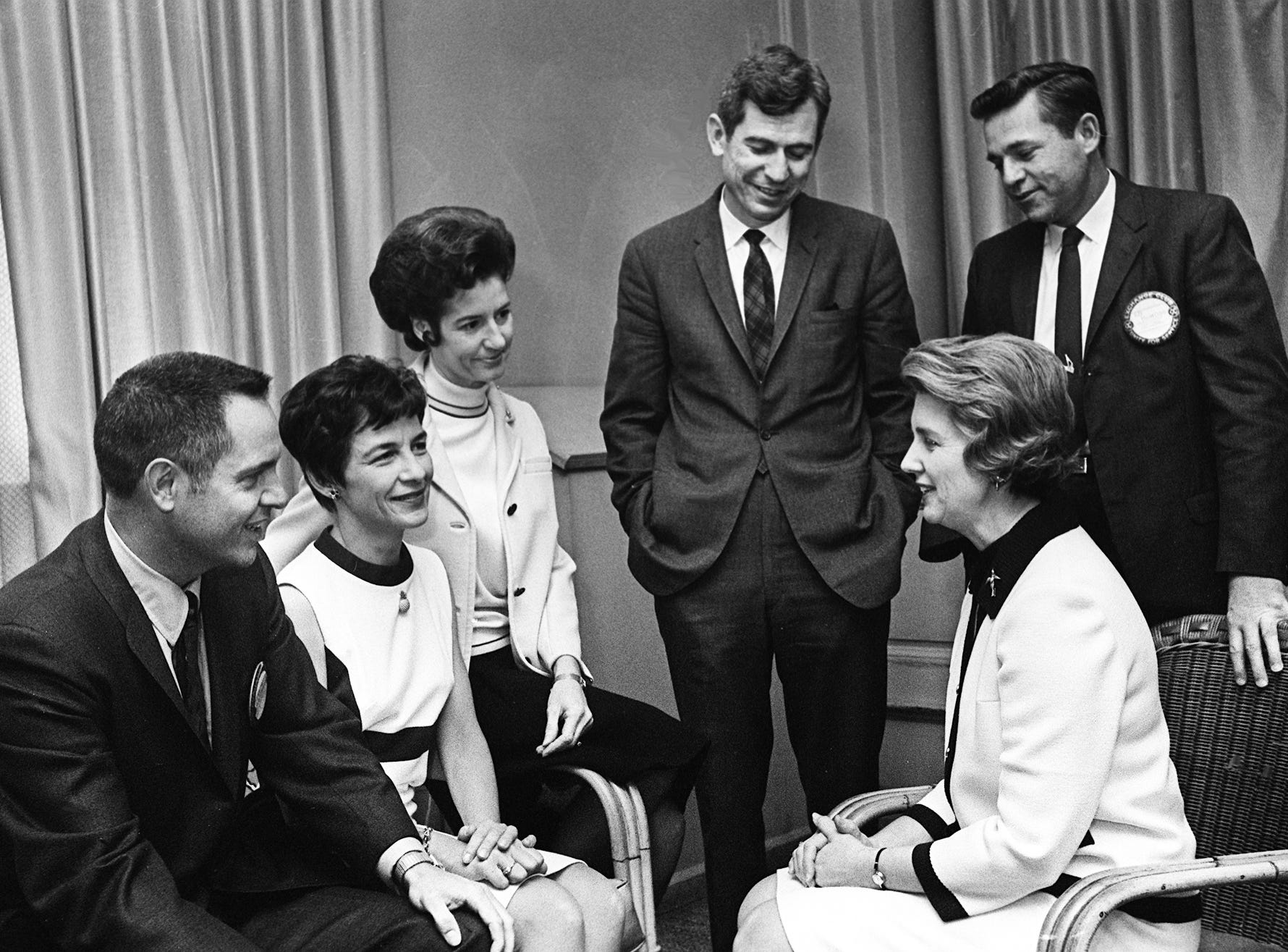 Celebrating Valentine week, the Hermitage Hotel is the scene of a luncheon given by members of the Exchange Club on Feb. 11, 1969. Enjoying the event are Mr. and Mrs. Charles Warfield, seated left, Mrs. Webb Follin, Mrs. Ed DeMoss, Dr. Nat Winston, standing left, and Webb Follin.