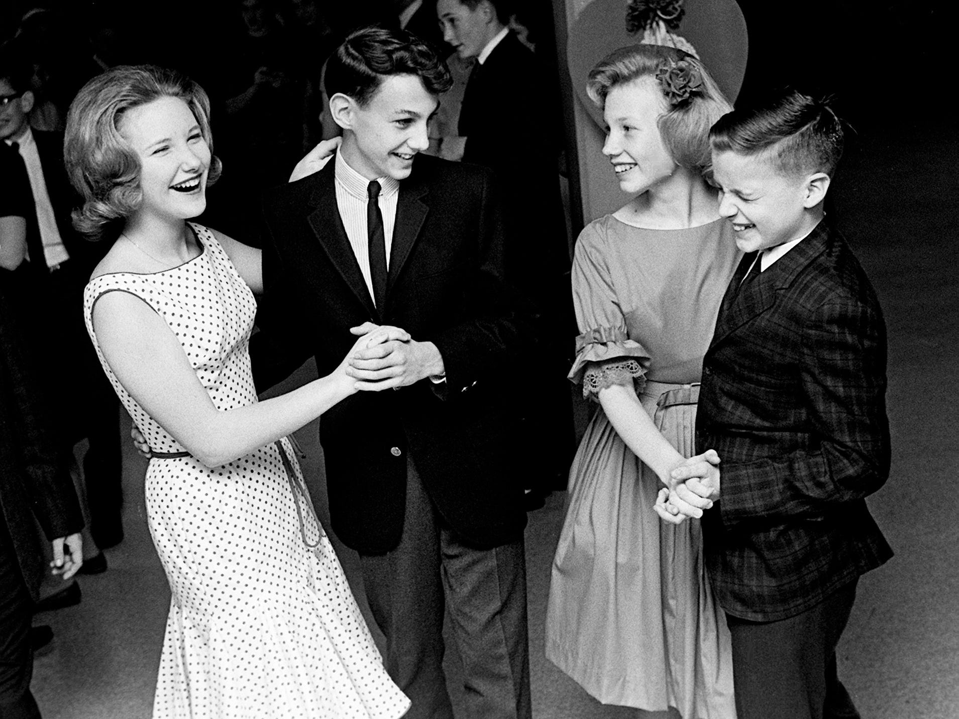 Enjoying dancing in the lunchroom at Montgomery Bell Academy are Emily Adkins, left, Buddy Sanders, Karen Cloud and Richard Cannon during the seventh and eight graders Valentine party Feb. 15, 1963.