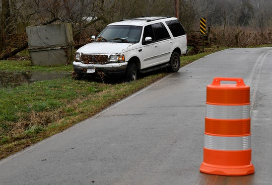 A car from which a woman was swept away during overnight flooding in Cheatham County Thursday, Feb. 7, 2019.