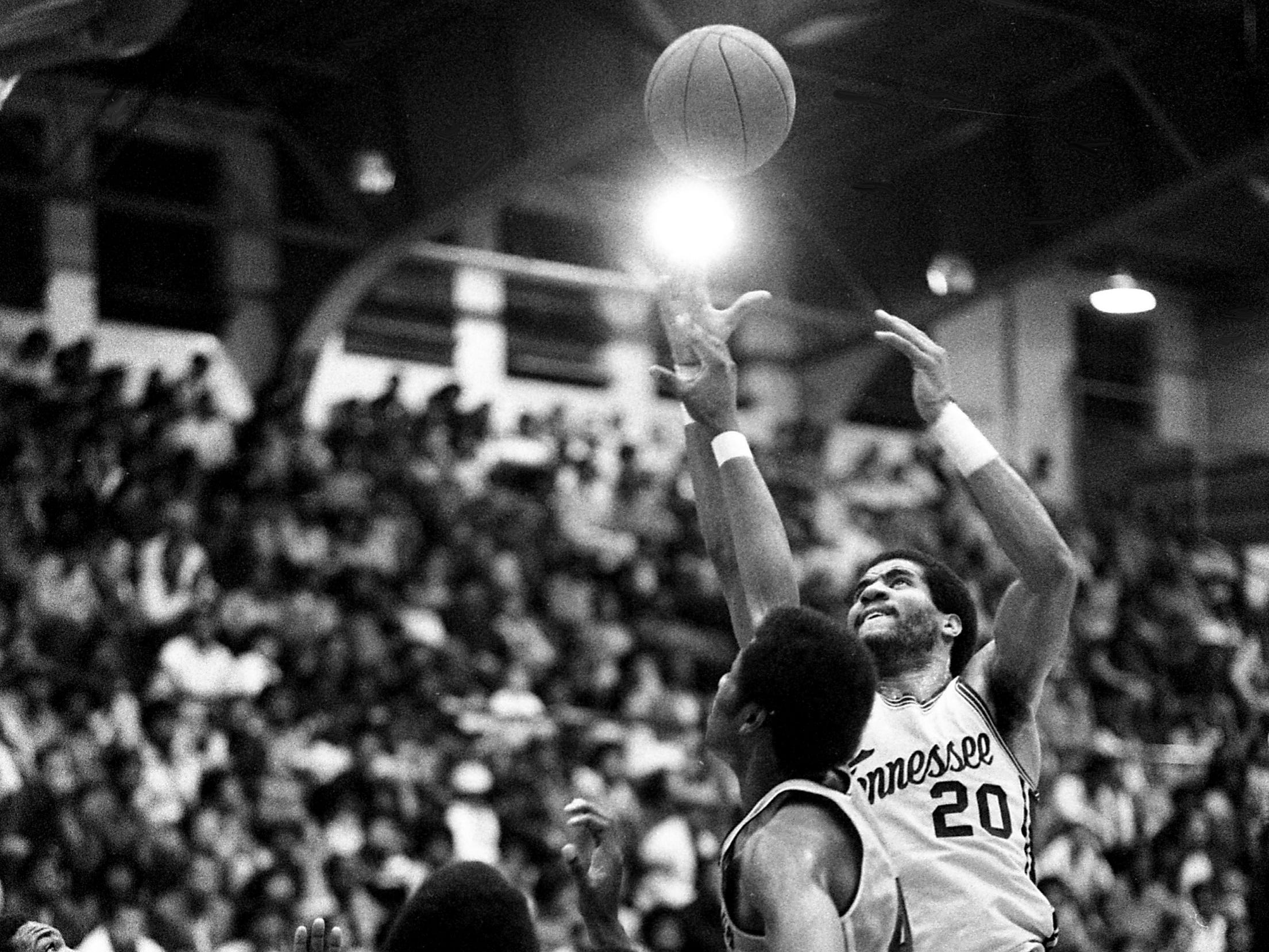 Tennessee State's Billy Tucker (20) moves inside for a shot attempt against Alabama State at the Kean's Little Garden on Feb. 24, 1979. Tennessee State lost 84-81 in its season finale to finish 20-6 for the season.
