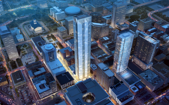 A rendering shows the Paramount condominium tower, which developer Tony Giarratana hopes to build at Church Street Park.