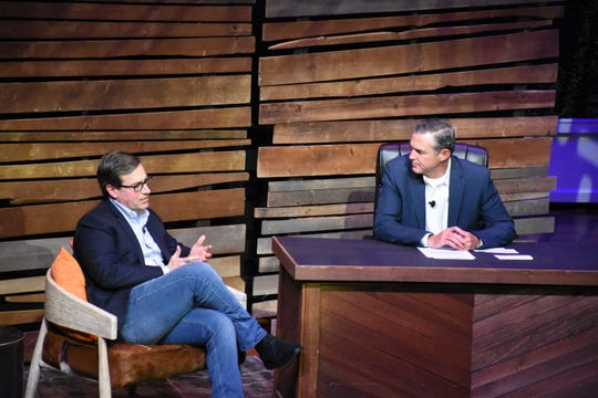 Amazon executive Dave Clark, left, answers questions about the company at Amazon: Live at the Ryman event on Feb. 6. in an interview with Kevin O'Marah.