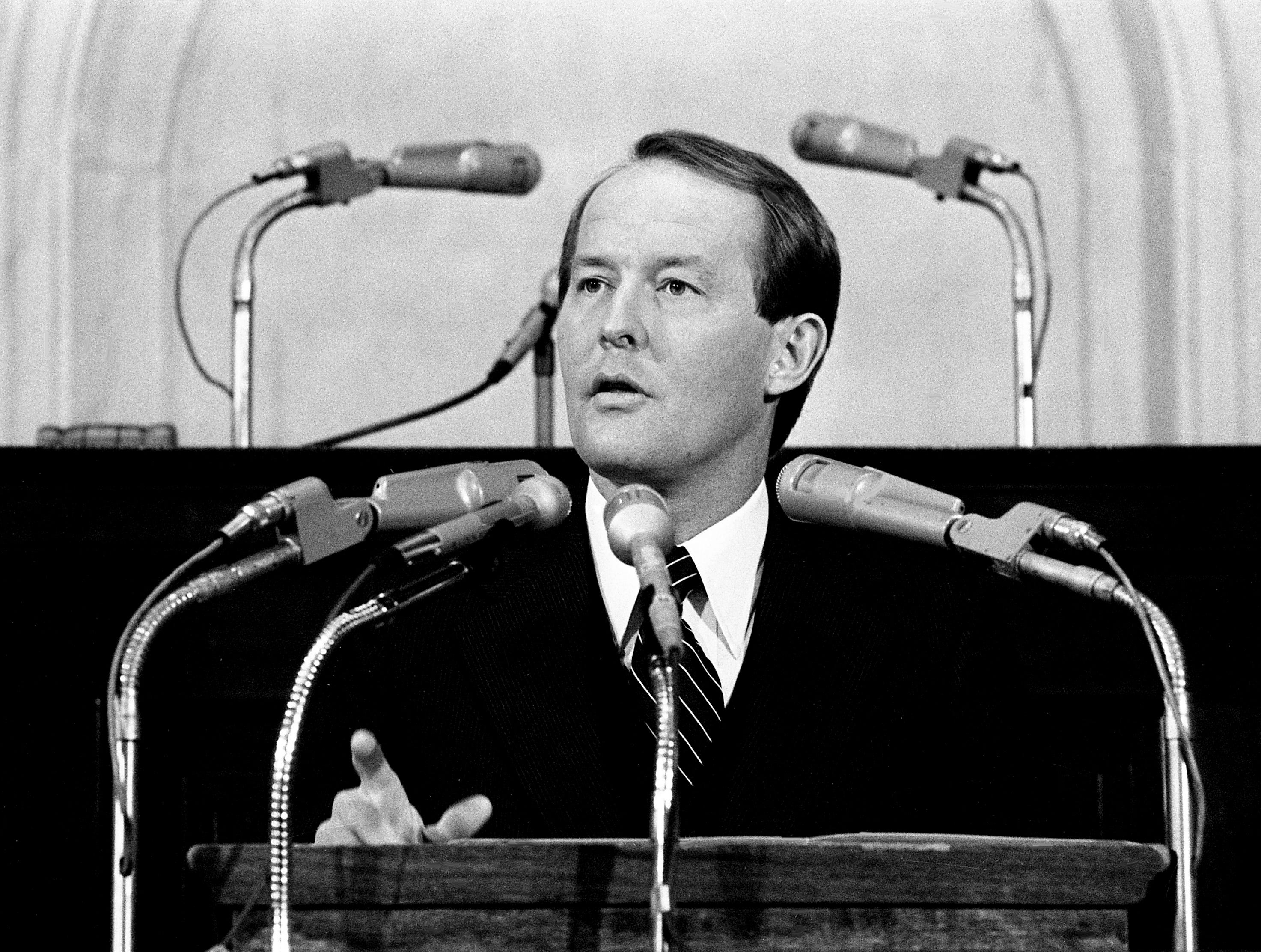 Gov. Lamar Alexander talks about his $3.5 billion budget, the largest in history, during his address to the joint legislature at the state Capitol on Feb. 28, 1979. He proposed prison improvements and teacher and state employee pay raises.
