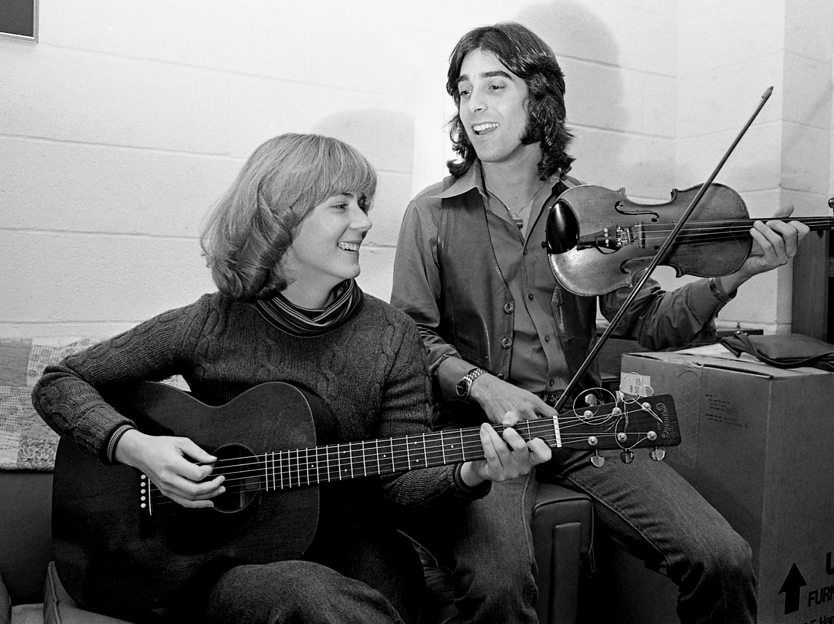 Amy Beville and Steve Plotkin of the Stella Parton Band rehearse at the Disciples of Divinity House on Feb. 6, 1979. The pair and other young performers will share the spotlight in a benefit concert at the Exit/In for the Rape and Sexual Abuse Center of Davidson County.