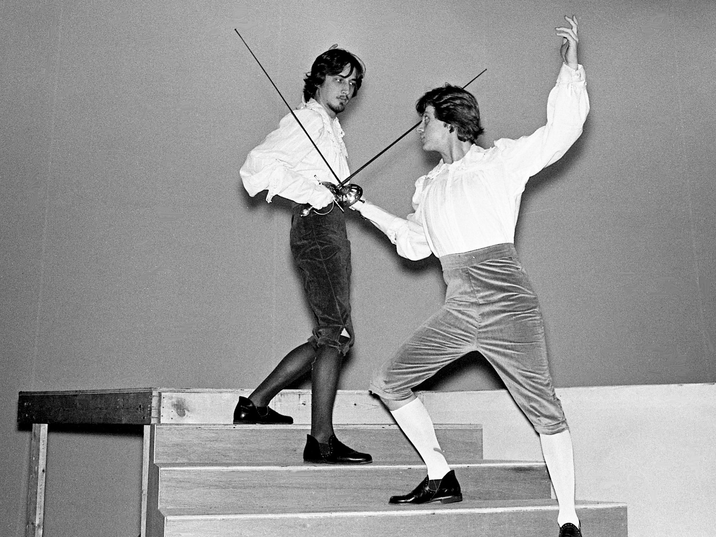 "Sir Carlos, left, played by Bob Evans, and Prince Felipe, played by Robert Madaff, square off for a duel during rehearsal Feb. 13, 1979, for the Nashville Academy Theater's production of the classic ""Cinderella."""