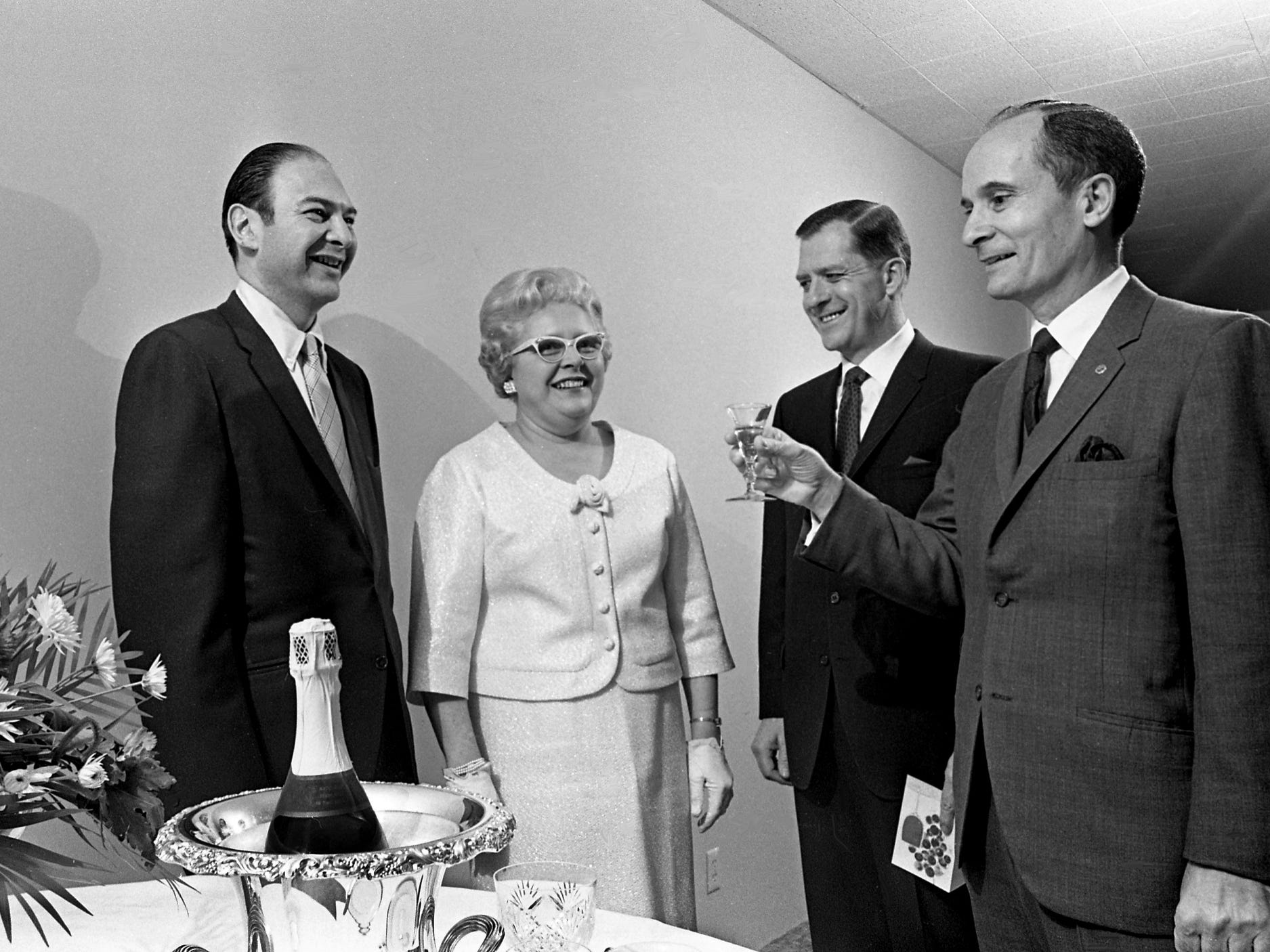 From left: Norman Lipmahn, Mrs. B. Wade Foster, Hilton Austin, chairman of the dinner, and William O. Echols, Lions Club president, enjoy themselves during the Nashville Lions Club's Valentine party at the Sheraton Motor Inn on Feb. 14, 1969.