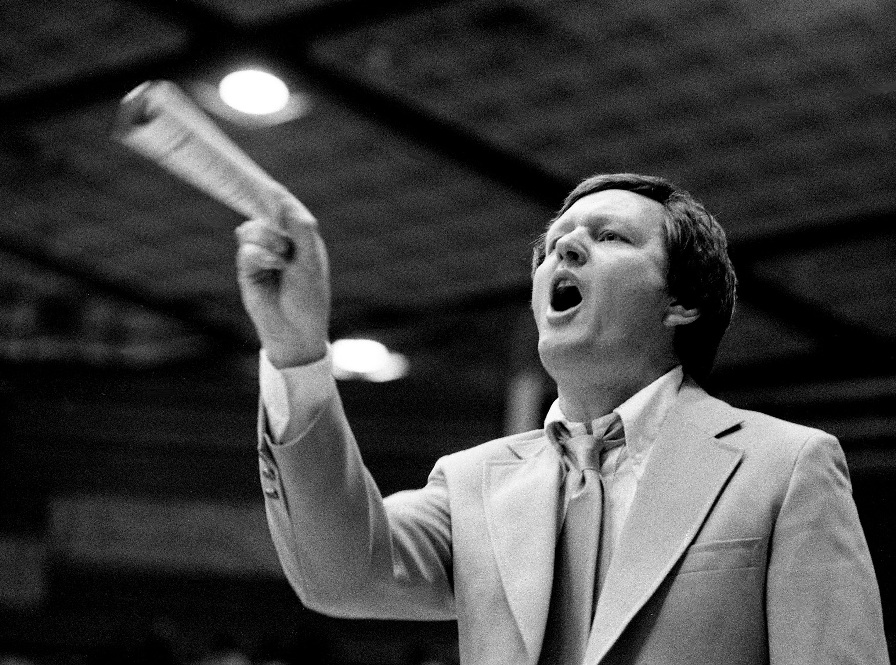 Middle Tennessee State head coach Jimmy Earle shouts encouragement to his players in their 81-76 victory over Western Kentucky in the final regular season game for both teams at Murphy Center in Murfreesboro on Feb. 24, 1979.