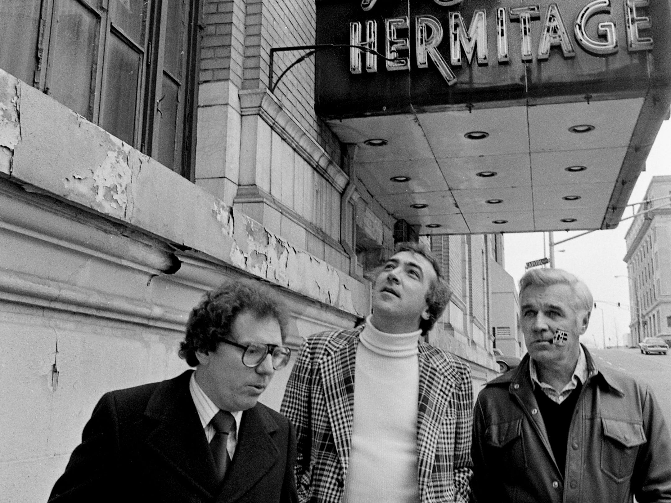 Metro Mayor Richard Fulton, right, discusses the multimillion-dollar renovation plan for the once grand Hermitage Hotel with leasing agent Jerry Carroll, left, and project coordinator Lloyd Buzzi outside the hotel Feb. 17, 1979.