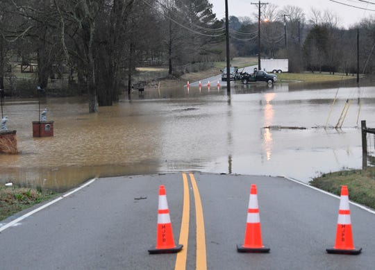 Flooding across Old Lebanon Dirt Road in Mt. Juliet after overnight flooding hit Middle Tennessee Thursday, Feb. 7, 2019.