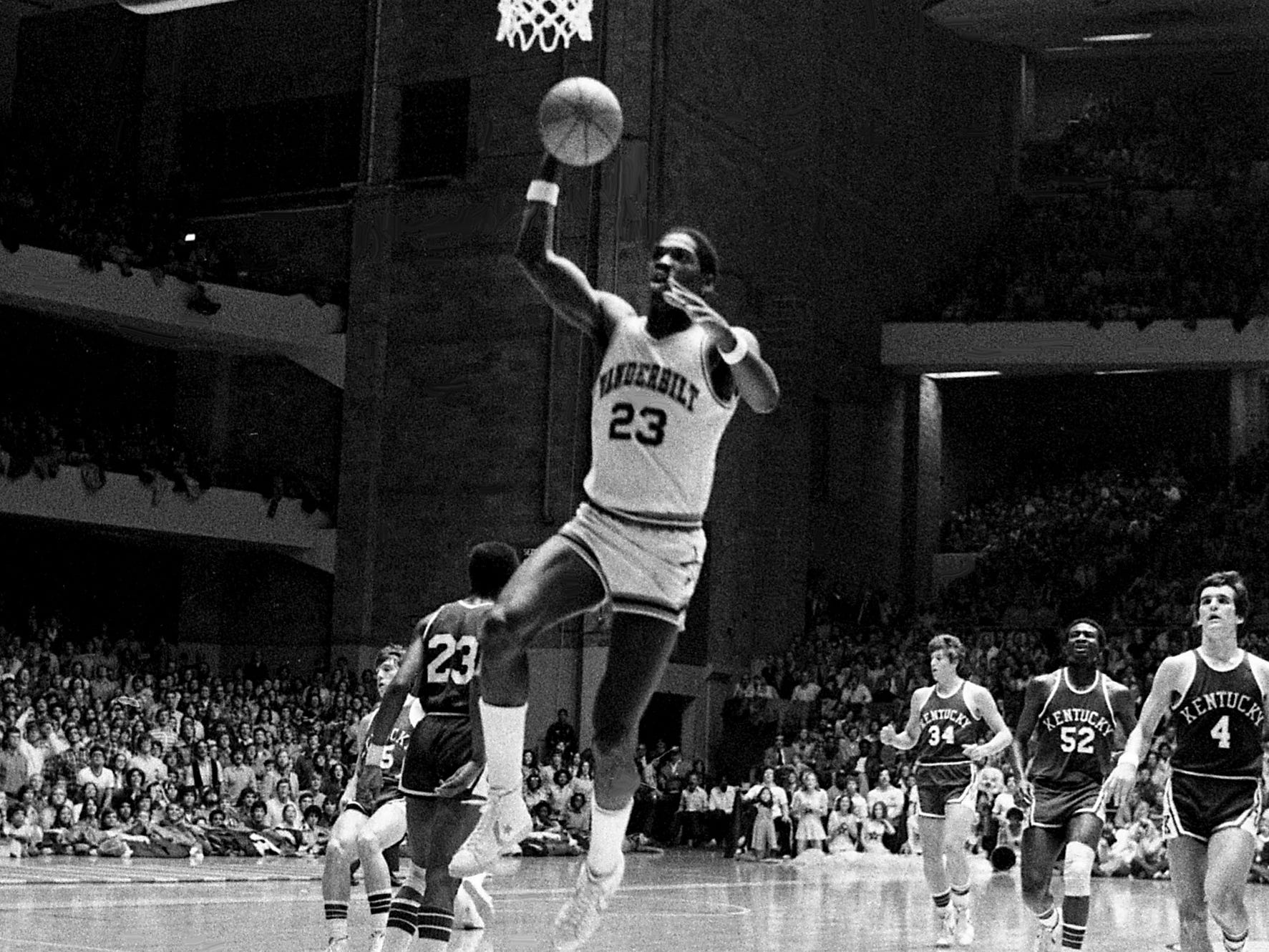 Vanderbilt junior Charles Davis (23) goes up for two of his 31 points to lead the 16th-ranked Commodores to a 68-58 victory over the defending NCAA champions Kentucky before a crowd of 15,500 at Memorial Gym on Feb. 7, 1979. Davis set a Memorial Gym record for field goal accuracy with 13 field goals on 15 shots.