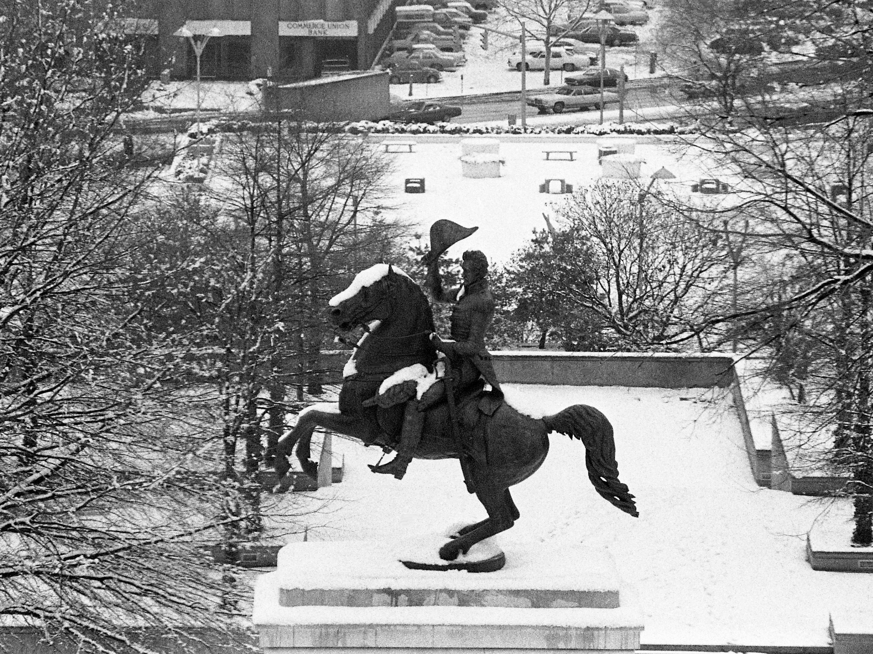 The statue of Andrew Jackson at the state Capitol has collected some snow Feb. 2, 1979.