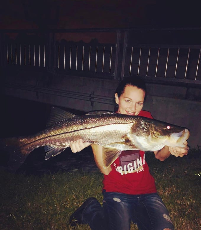Ashley Shotwell with a 39-inch snook during the cold front in January.