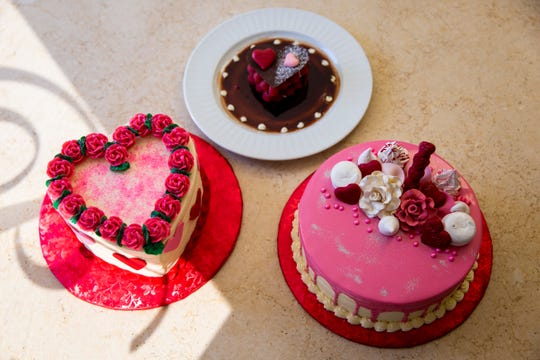 Valentine's Day cakes and pastries prepared at Mikkelsen's Pastry Shop in North Naples, photographed on Thursday, Feb. 7, 2019.