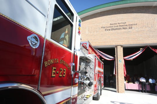 A new fire engine accompanies the grand opening of the Bonita Springs Fire Control and Rescue District's Fire Station 23.