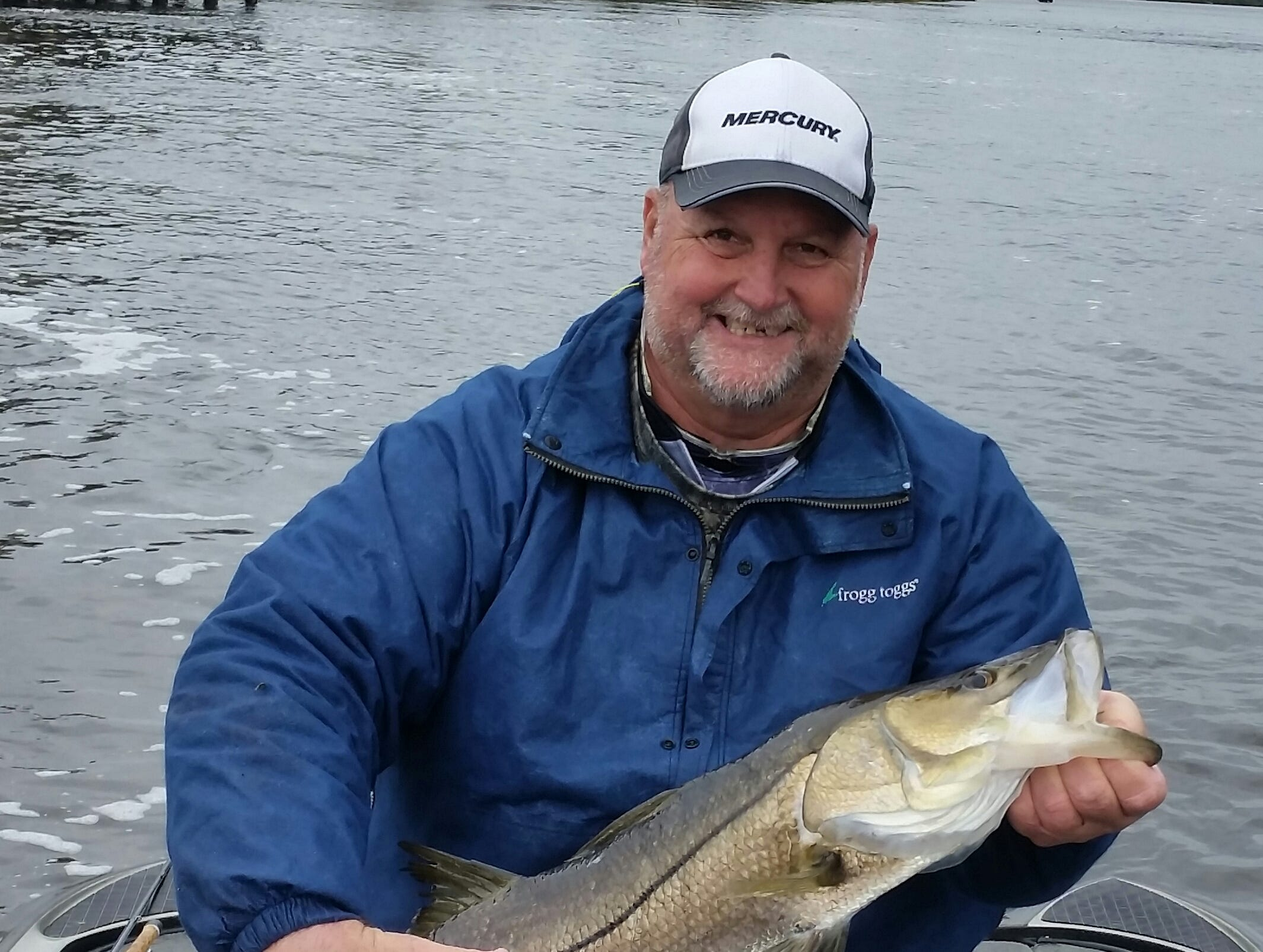 Capt. JoGene  Holaway  with his biggest freshwater snook this year caught while fishing in a largemouth bass tournament on the Caloosahatchee River. The fish was released.