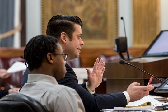 Tyler Ocasio's defense attorney, Eric Brehm, speaks during his trial. Ocasio is accused of murdering David Barcus in 2018.