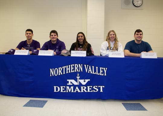 Students from Northern Valley Regional High School at Demarest recently announced their choices for college. From left are Joseph and Nicholas Argenziano, who will both play baseball at New York University; Gianna Arias, who will play volleyball at Montclair State University; Sedona Gaard, who will attend Kean University in the fall and play volleyball; and Maxwell Langsam, who will play football at Union College.