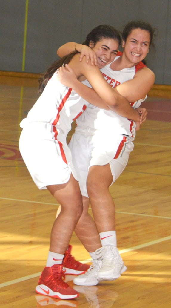 Fair Lawn junior guard Kellie Martinez (left) and senior guard Ziv Shalom celebrating after defeating Fort Lee.