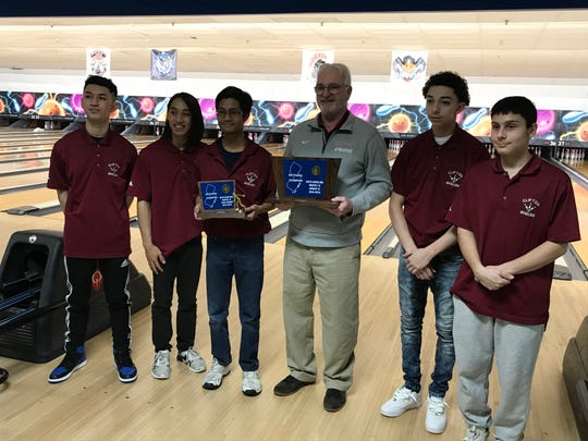 Led by high series winner Johann Gamo (third from left), the Clifton boys bowling team won the Group 4 title at the North 1B sectional on Thursday, Feb. 7, 2019 at Lodi Lanes.