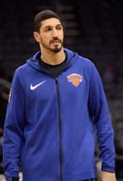 Jan 28, 2019; Charlotte, NC, USA; New York Knicks center Enes Kanter (00) warms up before a game against the Charlotte Hornets at the Spectrum Center.