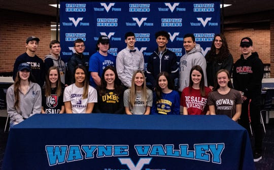 Wayne Valley signing day: (seated, from left) Stephanie LaGreca, basketball, Kean; Catie McGrath, field hockey, DeSales; Hanna Robinson, softball, Scranton; Claire Custance, swimming, Maryland Baltimore County; Sydney Rosenkrantz, soccer, Emory; Carson Thomas, basketball, Misericordia; Caroline McGrath, field hockey, DeSales; Julia Philp, track, Rowan; (standing) Reid Colella, wrestling, TCNJ; Canon Coyle, lacrosse, Neuman; Chris Coleman, baseball, Caldwell; Hunter Rovere, lacrosse, Massachusetts-Boston; Anthony D'Arienzo, basketball, undecided; Mark Howell, basketball, undecided; Greg Fox, football, Moravian; Brian Borchard, swimming, Skidmore and Sean Furtek, soccer, Berkley.
