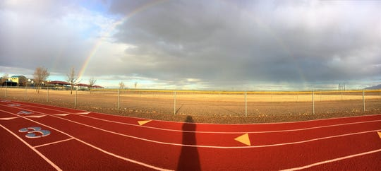 Luna County skies sprinkled rain in the late afternoon on Monday, Feb. 4, for approximately 15 minutes and as a result, produced a short-lived rainbow. Did you happen to see it? This snapshot was taken at the Red Mountain Middle School track on Deming's west side.