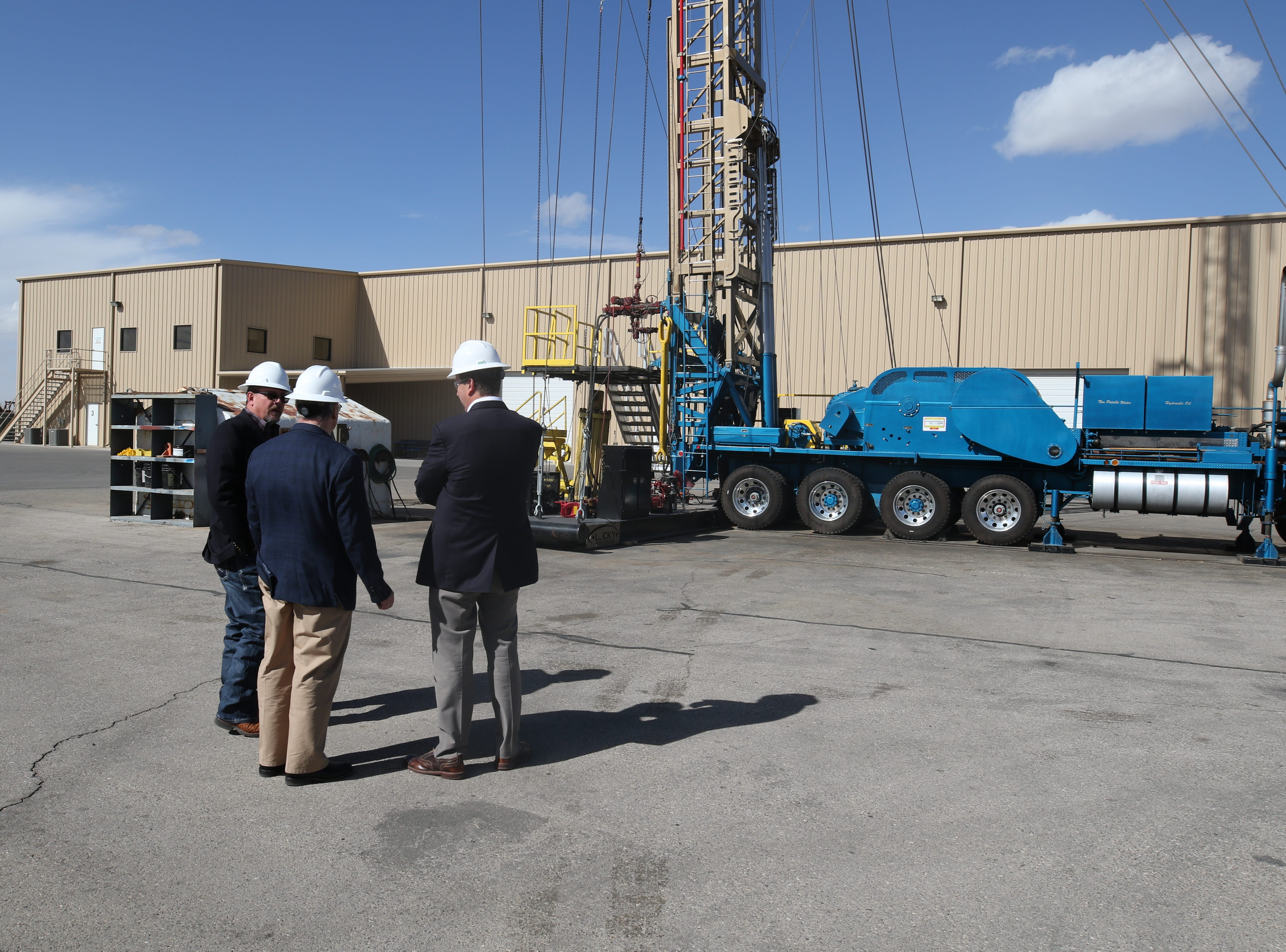 Staff from the U.S. Department of the Interior tour an oil rig, Feb. 6, 2019 at Watson Hopper in Hobbs.