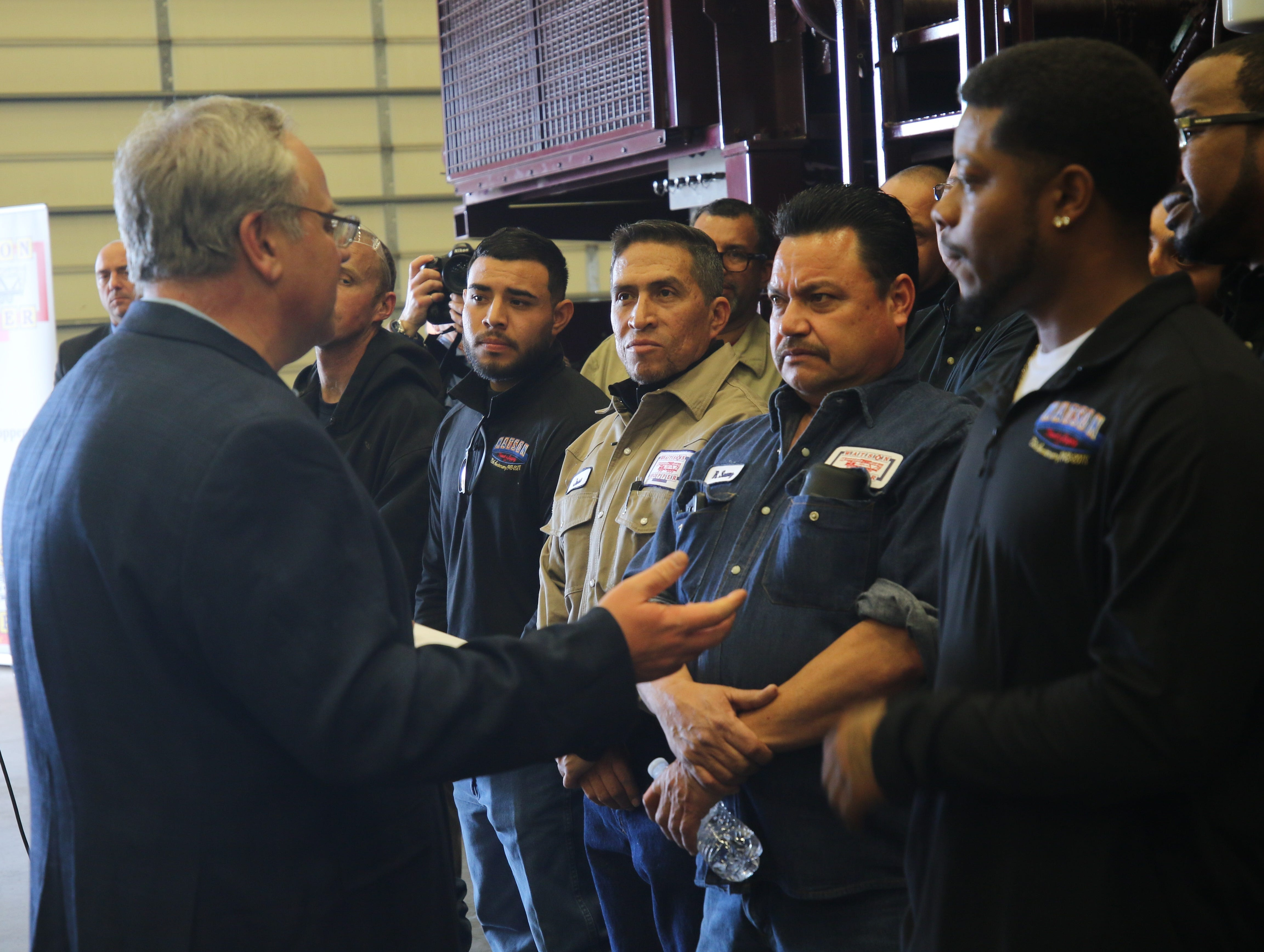 Acting U.S. Secretary of the Interior David Bernhardt addresses workers at Watson Hopper, Feb. 6, 2019 in Hobbs.