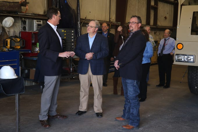Watson Hopper President Finn Smith (left) meets with Acting U.S. Secretary of the Interior David Bernhardt and workers at the plant, Feb. 6, 2019 in Hobbs.