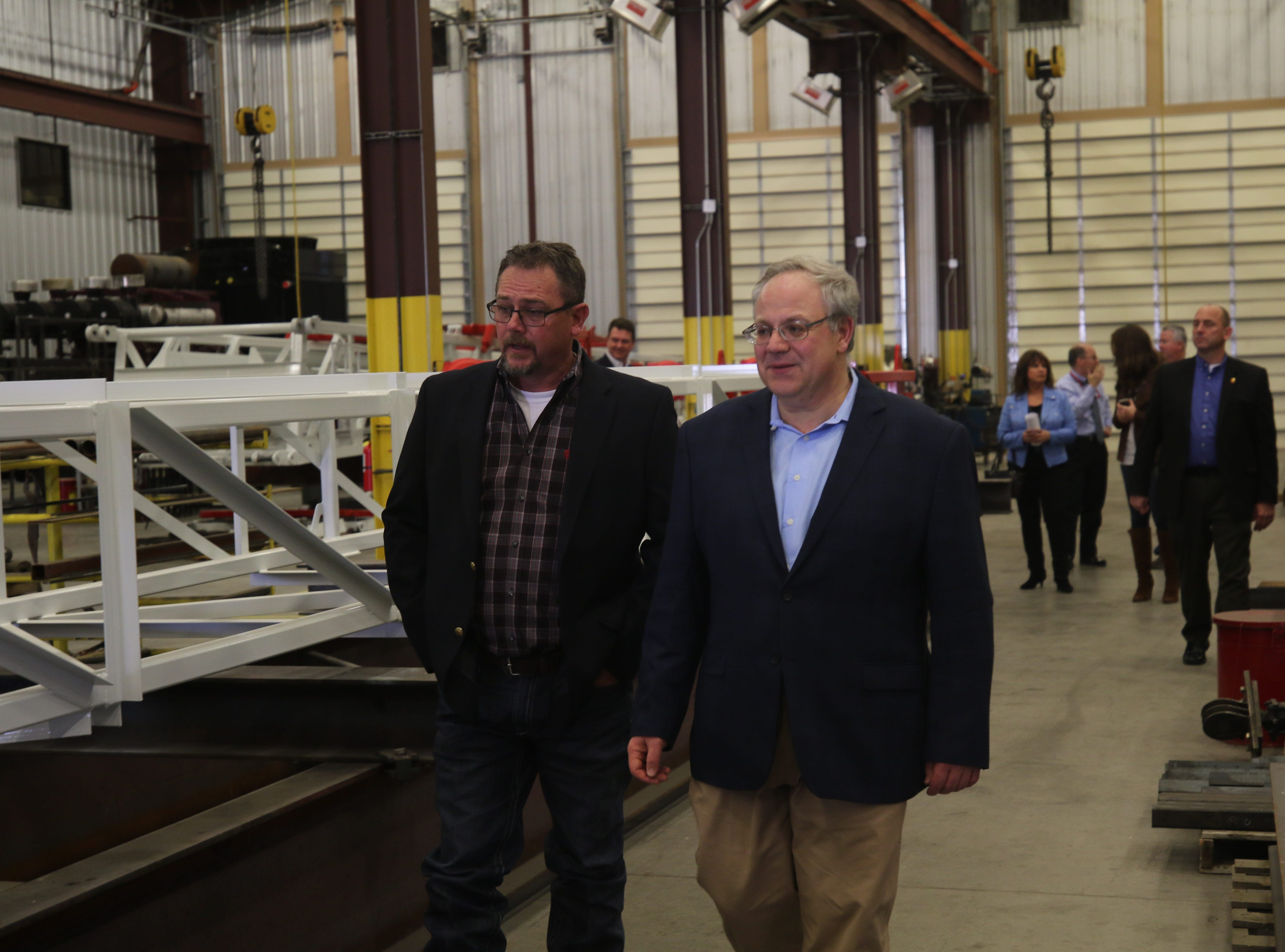 Acting U.S. Secretary of the Interior David Bernhardt meets with staff at Watson and Hopper, Feb. 6, 2019 in Hobbs.