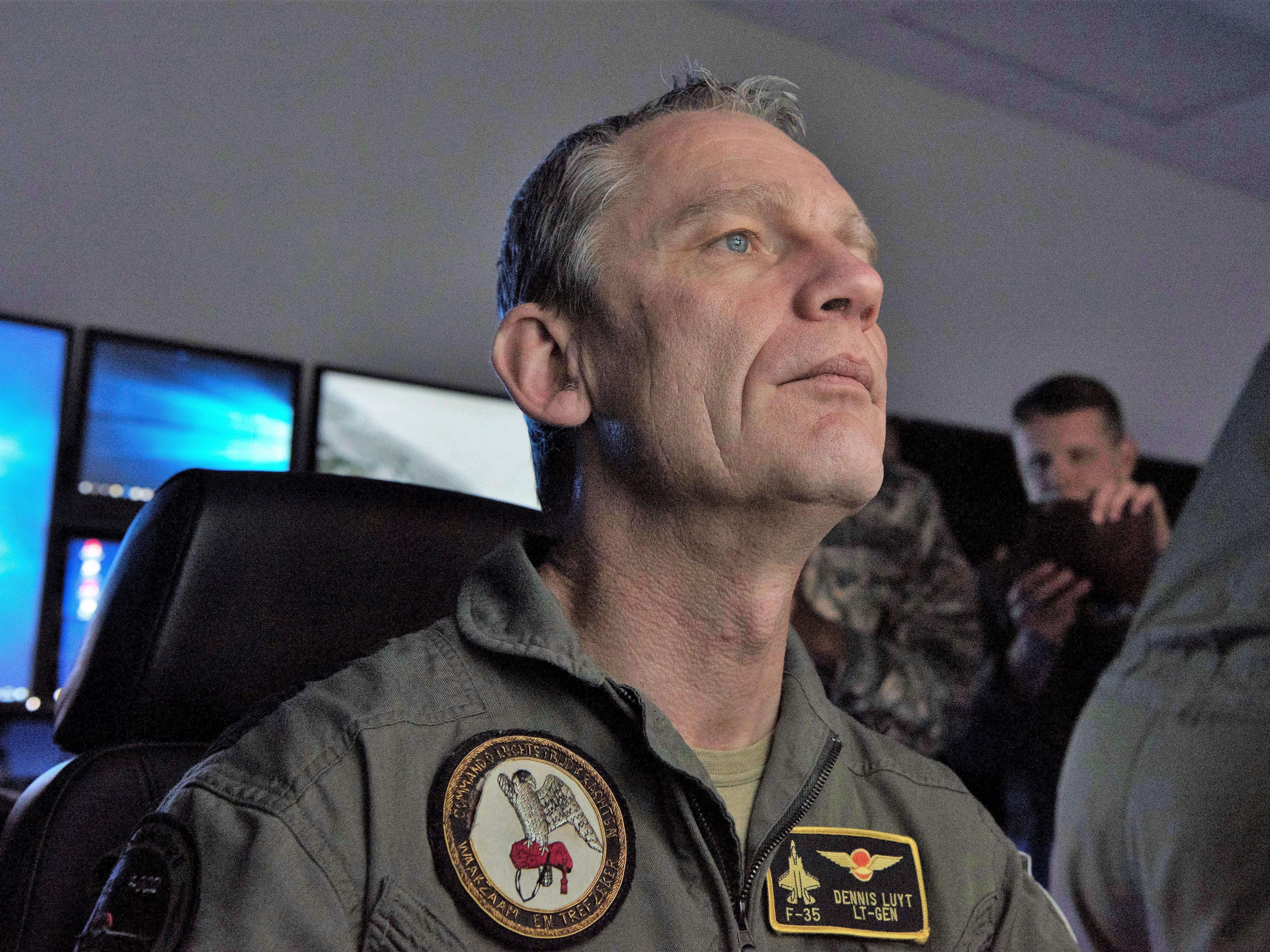 Lt. Gen. Dennis Luyt, Royal Netherlands Air Force commander, smulates flying an MQ-9 Reaper, Feb. 1, 2019, in the 16th Attack Squadron on Holloman Air Force Base, N.M. Netherlands defense and military officials visited Holloman to tour the facilities where their MQ-9 Reaper pilots and sensor operators are being trained.