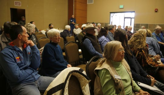 Community members participate in a public input meeting about outdoor recreation Thursday at the Farmington Civic Center.