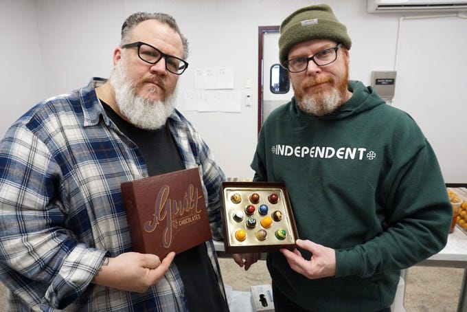 Guilt Chocolatiers Joe Nader, left, and Scott Breazeale will be selling their wonderful wares at this weekend's Detroit Foundation Hotel Love Unlimited pop-up sales event. The pair make their truffles at their Redford shop off Seven Mile Road.