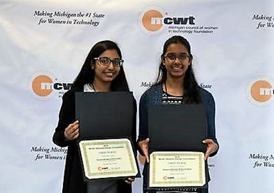 Sanjana Madapa, an eighth-grader at Plymouth Scholars, and Shruti Balla, a seventh-grader at Achieve Charter, were awarded first place in a statewide website design competition.