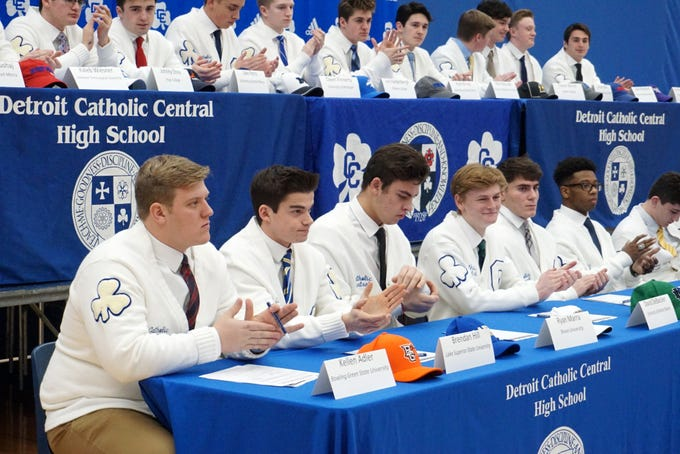 Shamrock scholar-athletes applaud their fellow students at the Feb. 7 Signing Day ceremony.