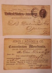 Front and back of 1896 postcard sent to E.B. Dubuisson