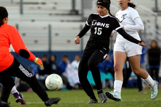 Cathedral City's Alondra Figueroa-Uribe takes a shot at the goal during the first half of the CIF playoff game against Rialto in Cathedral City on Wednesday, February 6, 2019.